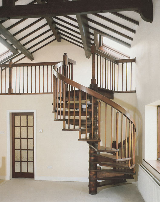 Wooden spiral staircases british spirals castings for Spiral stair