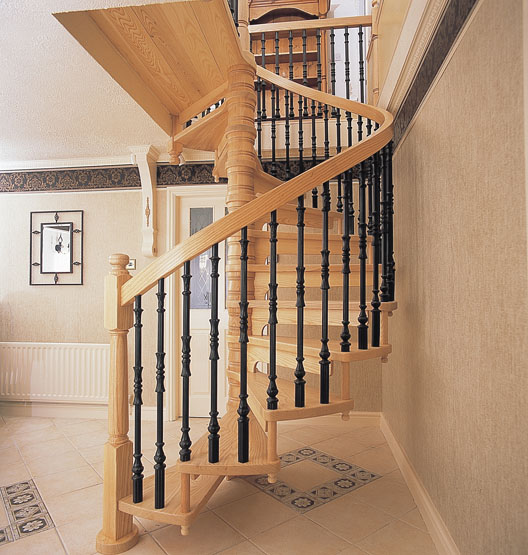 Wooden spiral staircases british spirals castings for Spiral stair design