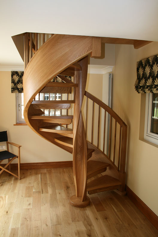 Wooden spiral staircases british spirals castings for Spiral staircase design plans