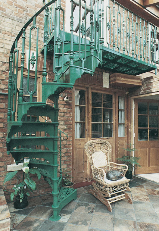 Traditional Victorian Cast Spiral Staircases on outdoor metal stairs