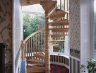 Wooden Spiral Stair with Turned Balusters and Centre Column