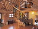 Wooden Spiral Stair with Victorian and Floral cast balusters