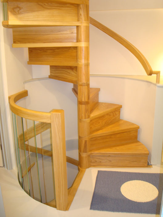Spiral Stairs With Handrail Hung Off Wall