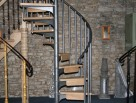 Small Scandinavian Spiral Stairs with Timber Riser Bars