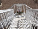White external metal staircase
