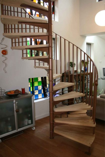 timber staircase storage