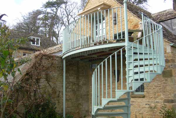 Outdoor Spiral Staircase in Pastel
