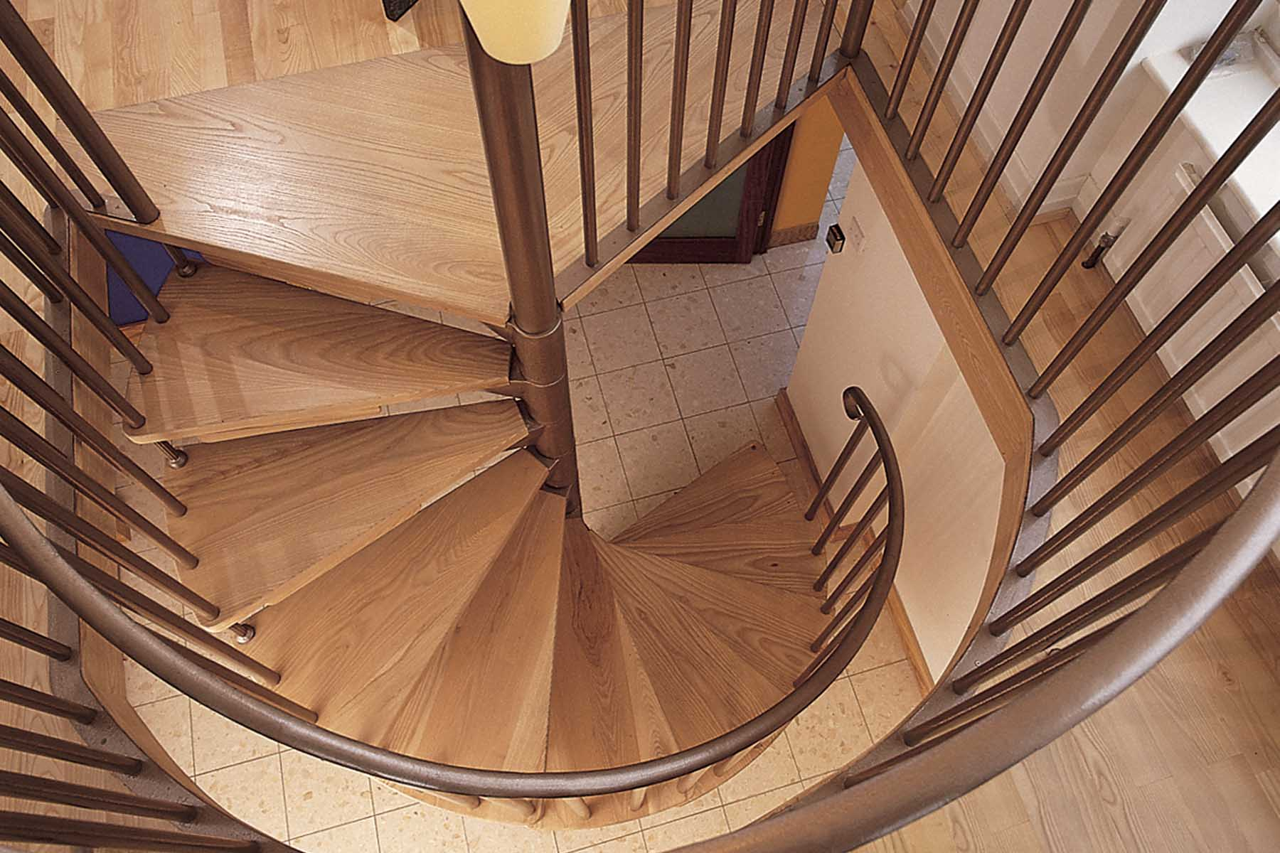 Timber and metal spiral staircase