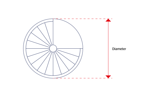 diameter measurement for spiral staircase