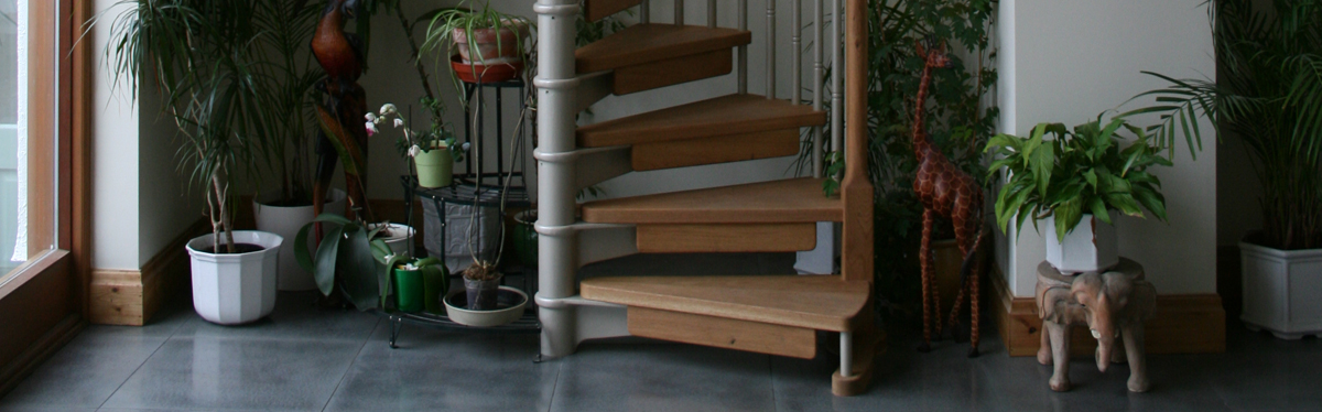 Scandinavian spiral staircase with oak treads