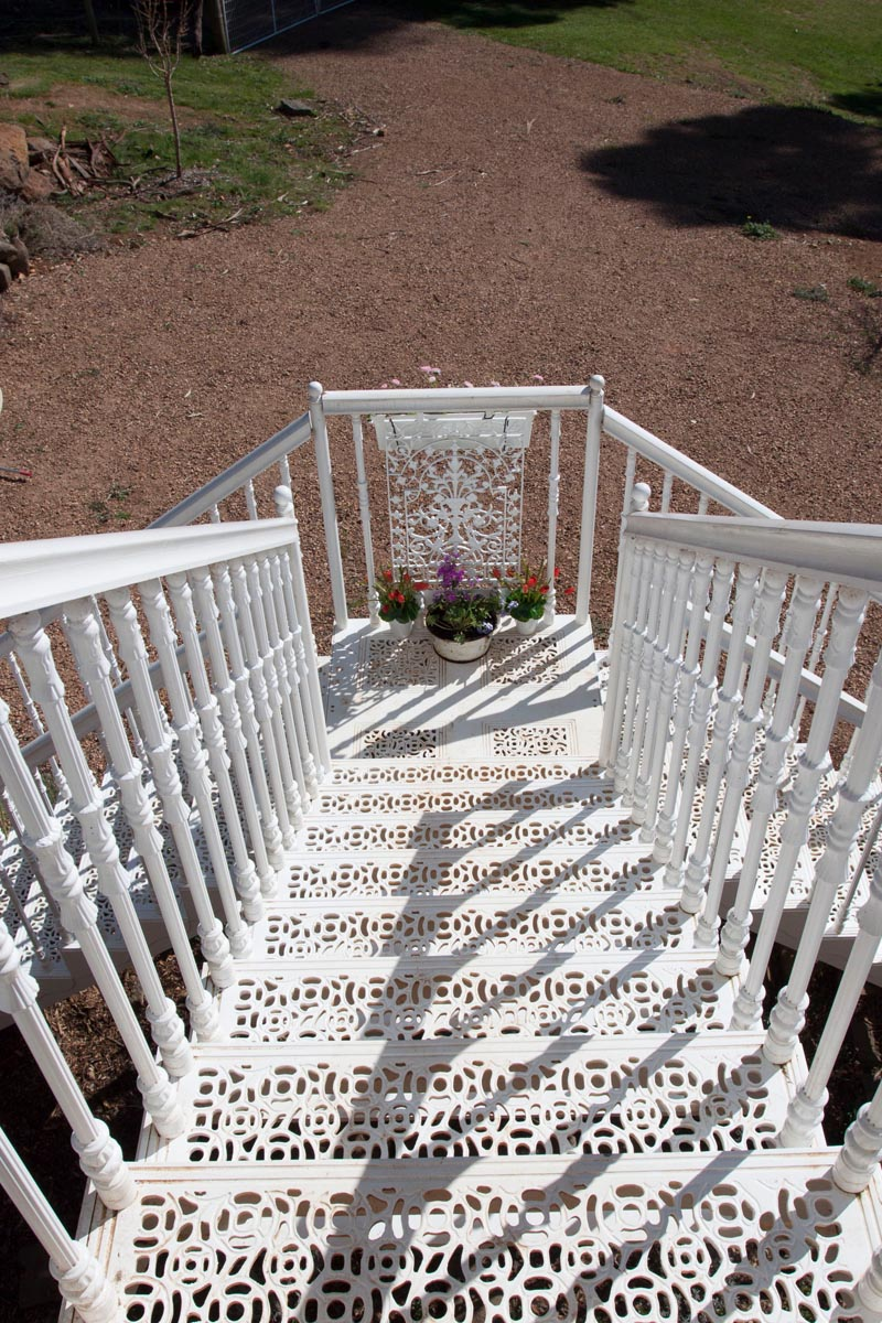 White metal exterior staircase