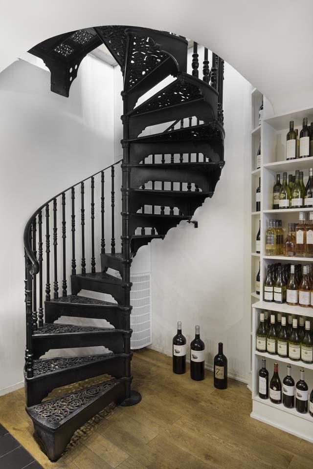 wine cellar spiral staircase