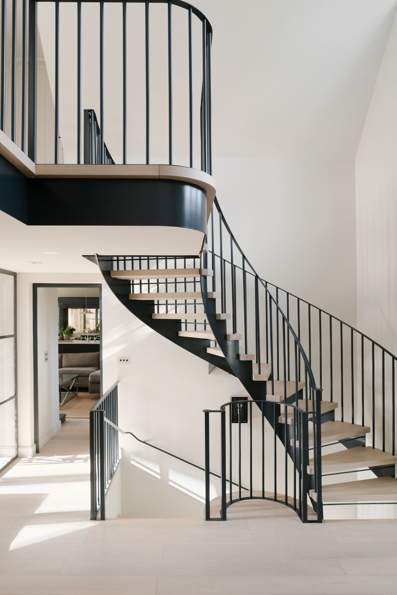 Bespoke Steel and Oak Helical Staircase