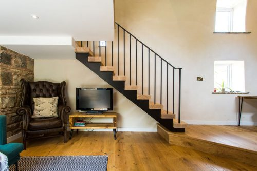 Ash and steel staircase
