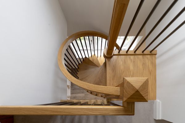 Timber spiral staircase from above