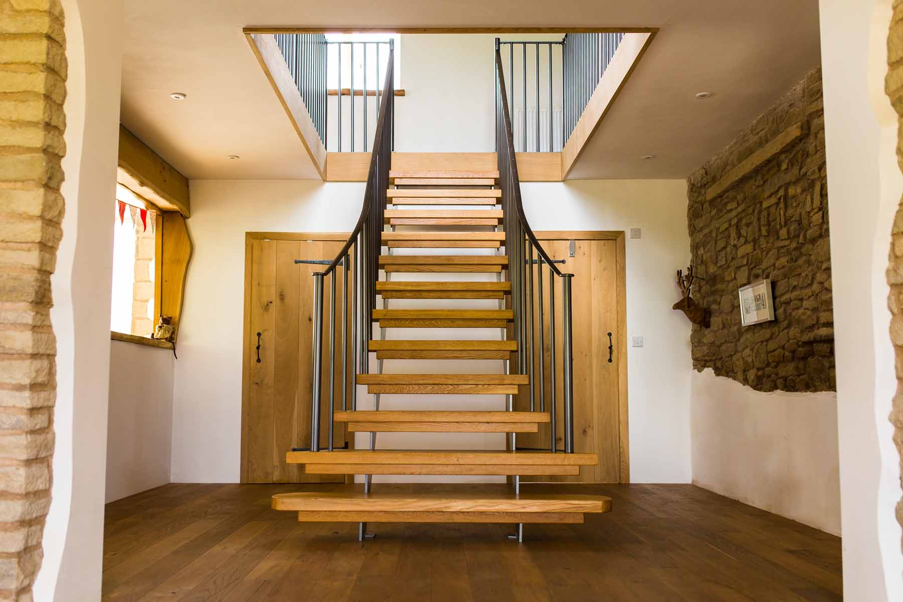 Steel and Timber Staircase with Metal Handrails