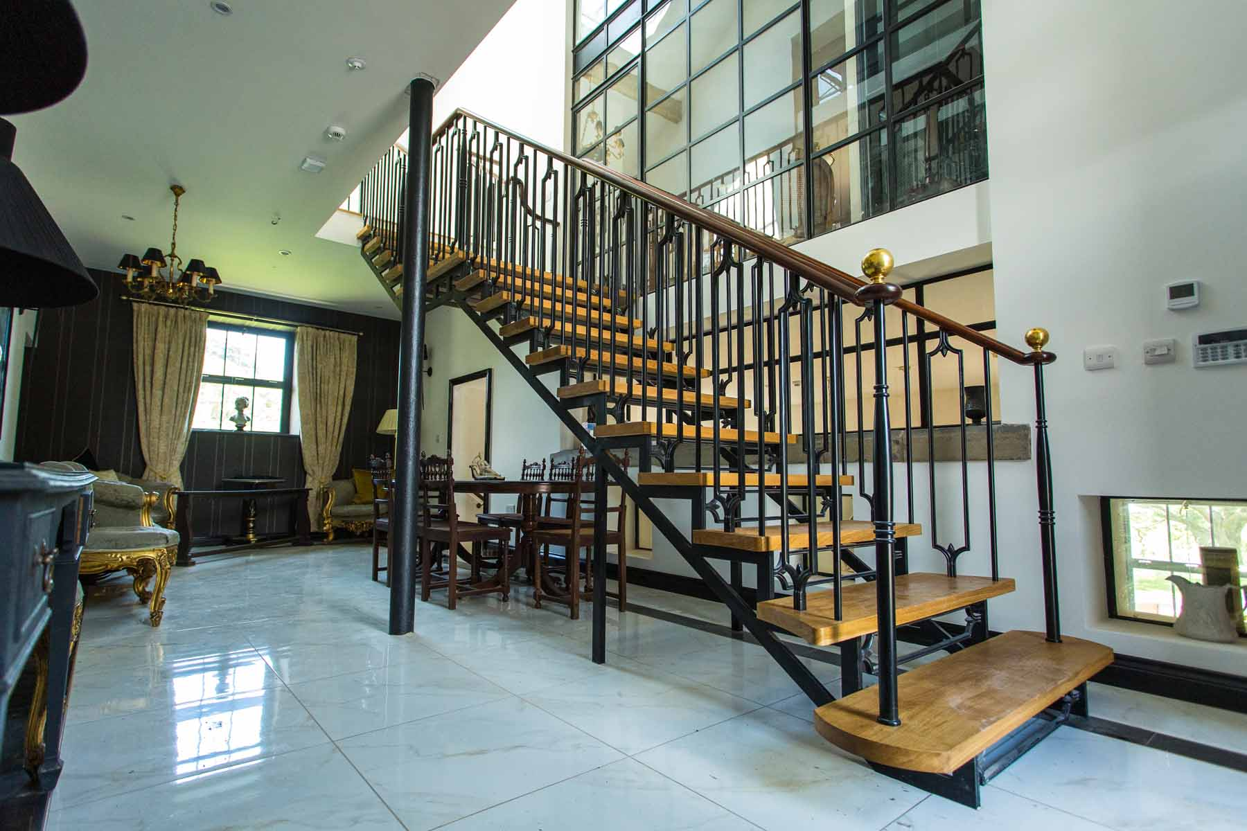 Steel and Timber Staircase with Wooden Handrails