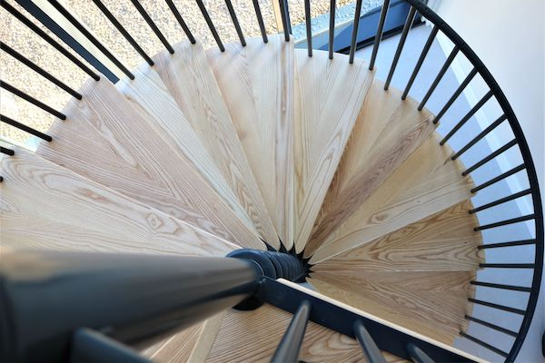 barn conversion spiral stairs